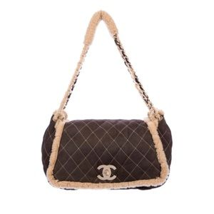 Rare Chanel shearling accordion flap bag Authentic